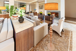commercial lobby with natural gas fireplace