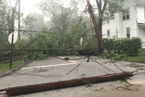 Fallen electrical wires caused by storm and tree damage